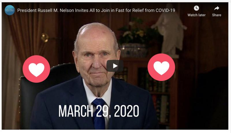 VIDEO: PRESIDENT RUSSELL M. NELSON INVITES PEOPLE WORLDWIDE TO FAST ON MARCH 29, 2020 FOR RELIEF FROM COVID-19 PANDEMIC coronavirus LDS Mormon