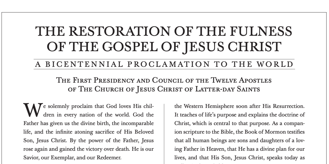 """President Nelson introduces a New Proclamation to the World: """"The Restoration of the Fulness of the Gospel of Jesus Christ"""""""