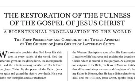 "President Nelson introduces a New Proclamation to the World: ""The Restoration of the Fulness of the Gospel of Jesus Christ"""