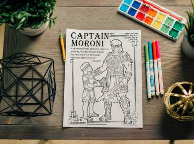 """Yea, verily, verily I say unto you, if all men had been, and were, and ever would be, like unto Moroni, behold the very powers of hell would have been shaken forever; yea, the devil would never have power over the hearts of the children of men."" Alma 48:17 Get your free coloring page here."