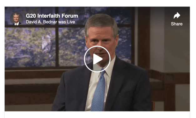 VIDEO: G20 Interfaith Forum and Elder Bednar — The important role of religion during the COVID-19 crisis