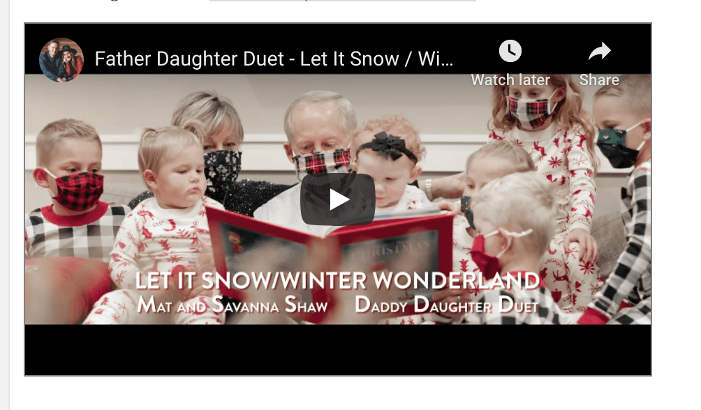 VIDEO: Father Daughter Christmas Duet – Let It Snow / Winter Wonderland – Mat and Savanna Shaw