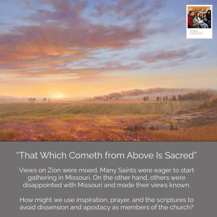 """Adam ondi ahman sky landscape (1) Spring Hill, Daviess County, Missouri, by Garth Robinson Oborn  June 7–13  Doctrine and Covenants 63 """"That Which Cometh from Above Is Sacred"""""""