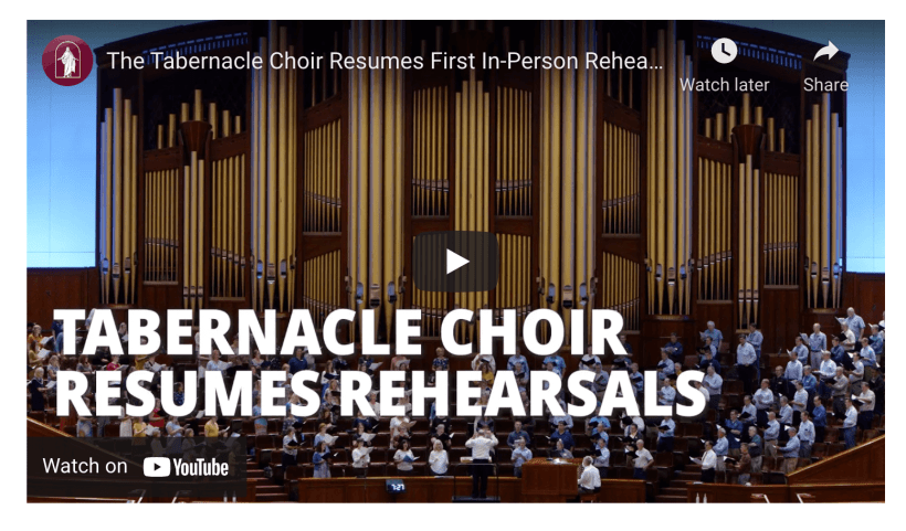 """On Tuesday evening, members of The Tabernacle Choir at Temple Square reunited at the Conference Center in Salt Lake City for their first in-person rehearsal in 19 months. """"We've been waiting for this for so long and we're anxiously ready for it, we're so ready to be here,"""" said Staci Dame, a member of the Choir from Layton, Utah. Choir leadership paused rehearsals, performances and recordings when the pandemic began in March 2020. """"There are so many steps that have been taken to make us feel safe, to make us feel at home, to make us feel like we can be in our element,"""" said Dame. """"We feel very lucky to be able to sing and to share our testimonies of the Savior."""""""