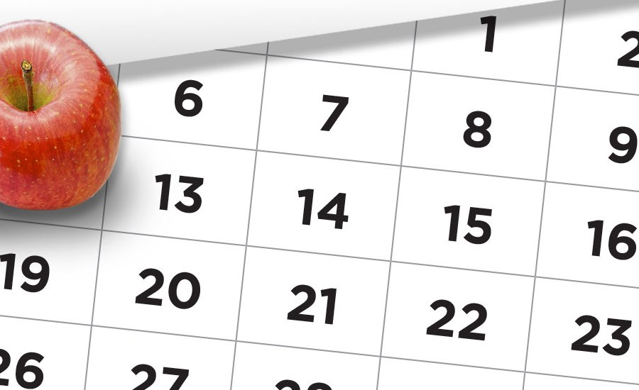 Generic photo of a calendar with an apple on top of it