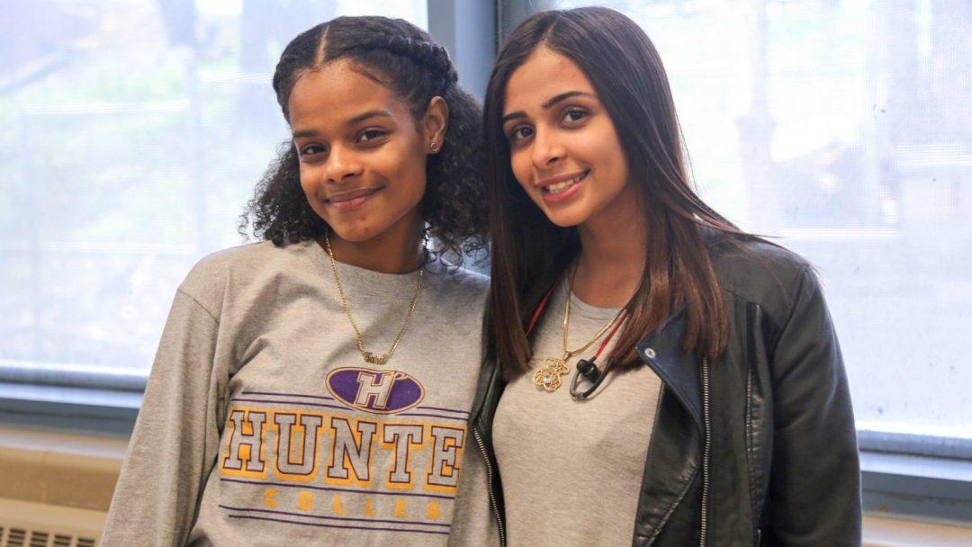 Two female high school students celebrating their last days of senior year