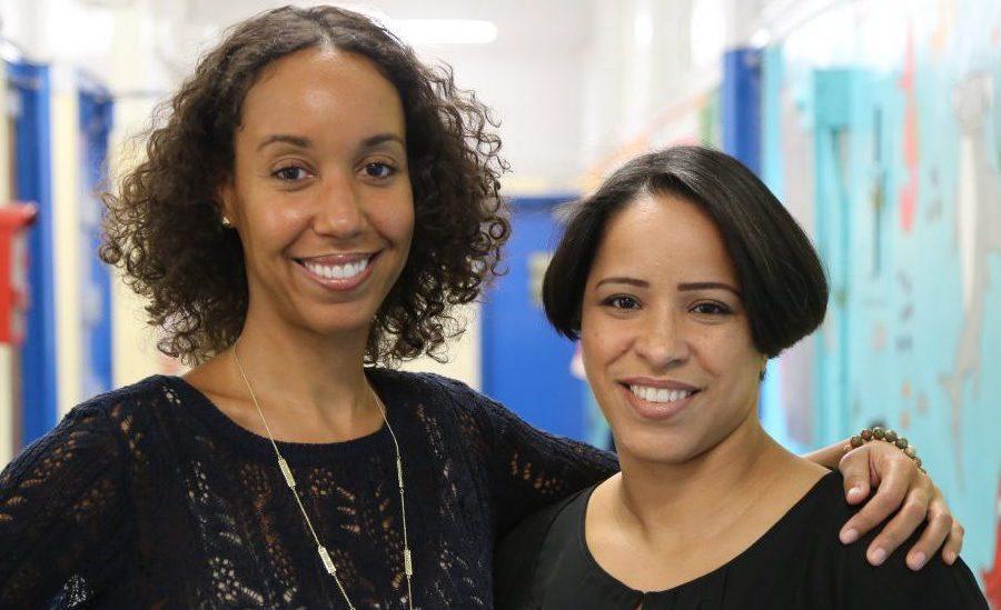 Community Community School Director Kathleen Shamwell (left) stands alongside Principal Irene Sanchez (right) of P.S. 15 in Manhattan.