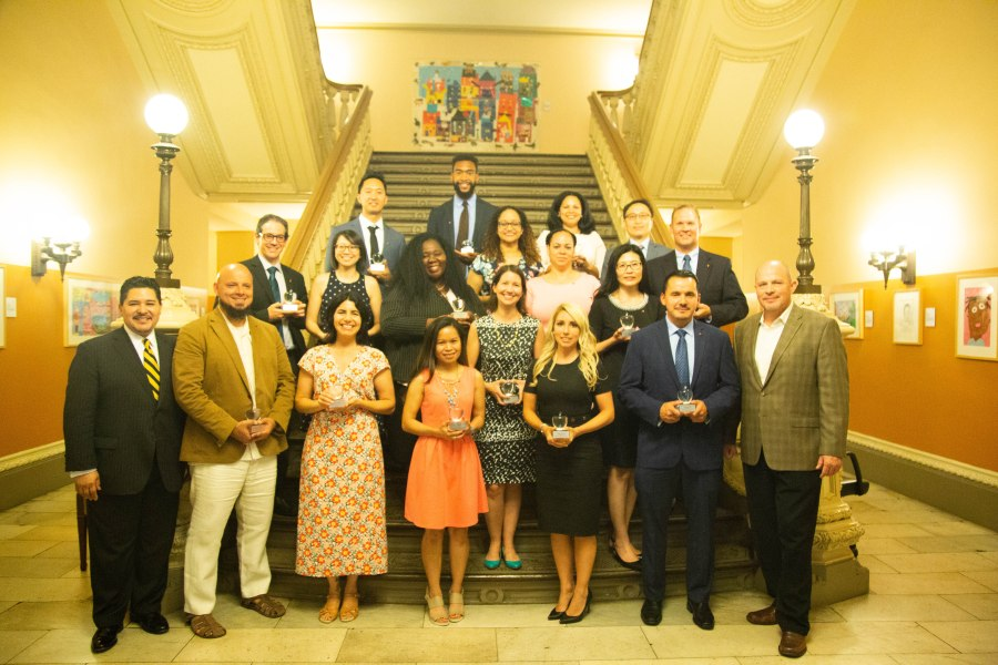 2018's Big Apple Award winners assembled on staircase at the Tweed Courthouse along with Chancellor Richard Carranza and UFT President Michael Mulgrew
