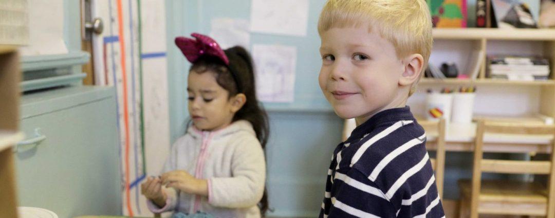 Elementary school boy and girl