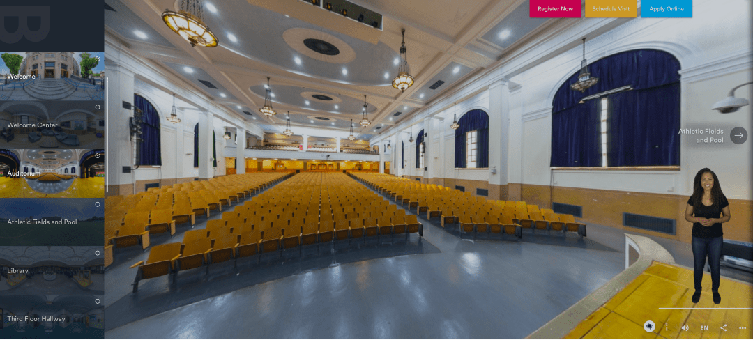Screenshot from the Bronx Lab School's Virtual Tour. This particular panoramic screenshot is of the school's auditorium