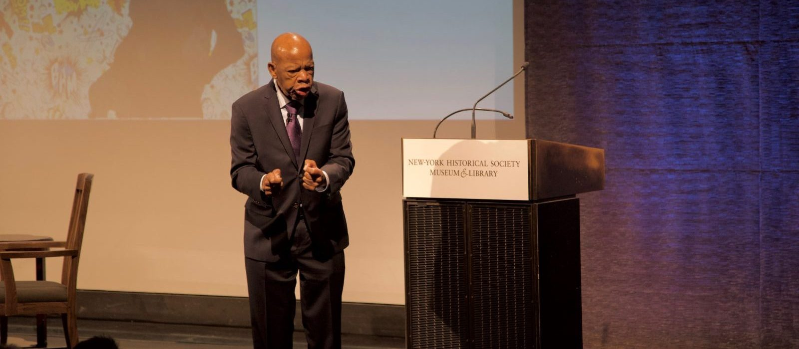Congressman John Lewis talking to students at the New-York Historical Society