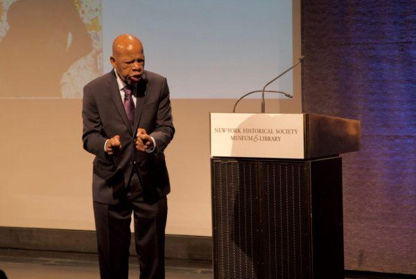 Congressman John Lewis talking to students at the New-York Historical Society