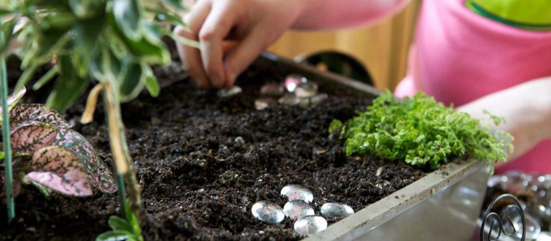 Child planting a fairy garden