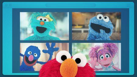 Screenshot of Elmo Having a Videochat with Sesame Street friends