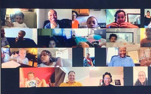 Screenshot of an online class for children and their parents