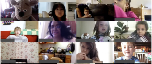 Screenshot of a Zoom Classroom Lesson with Mr. Cuddles the Ventriloquist and several students
