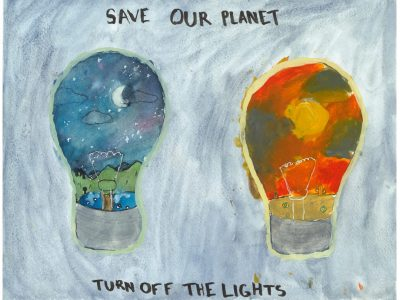 Drawing of two lightbulbs, one with a nighttime sky on the inside of the bulb, and another with a daytime sky.