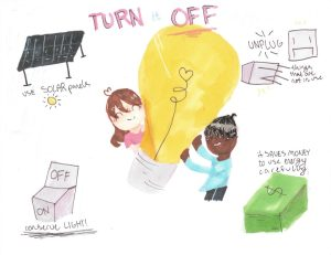 Drawing titled, 'Turn It Off,' featuring a large lightbulb in the middle and four suggestions drawn around it.