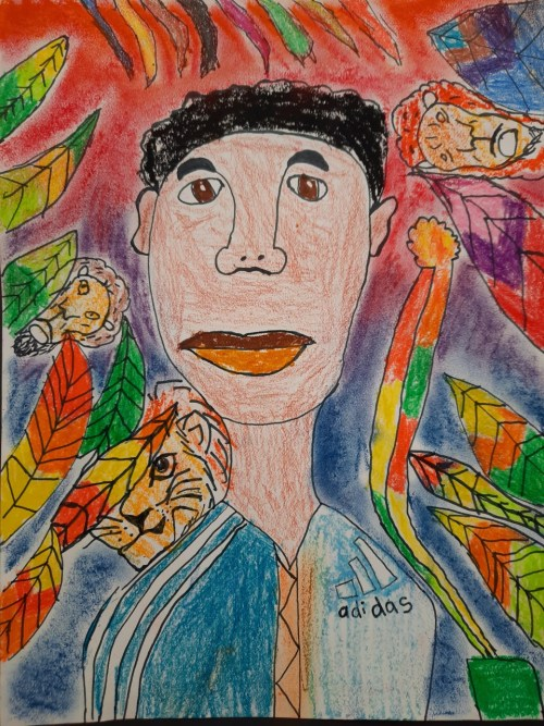 A self-portrait created by a student in the style of Frida Kahlo