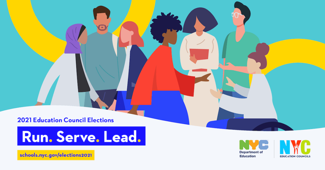 """Banner for the 2021 Education Council Elections that reads, """"Run. Serve. Lead."""""""