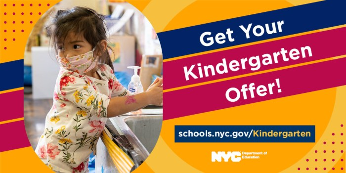 Banner that reads 'Get Your Kindergarten Offer' along with a URL to the DOE's Kindergarten landing page
