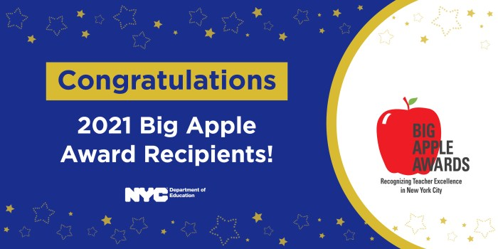 """Banner for the 2021 Big Apple Awards that reads, """"Congratulations 2021 Big Apple Award Recipients!"""""""