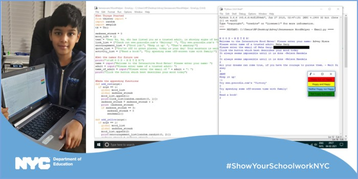 A banner image of Advay sitting with an open laptop on the left, and scans of his Python code in the center and the right