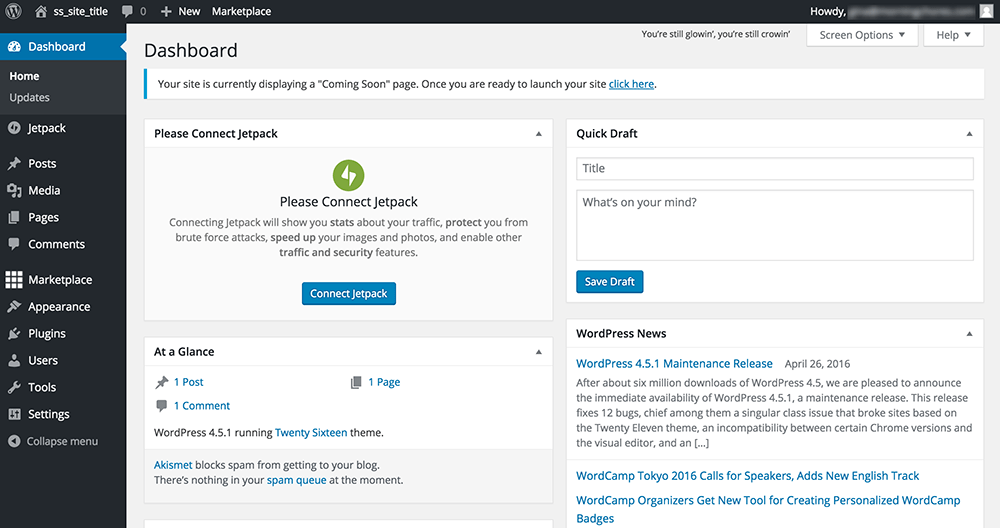 Wordpress Admin Page