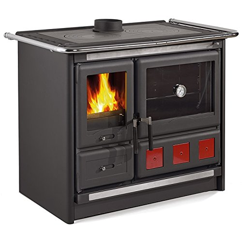 This Stove Comes With A Large Oven For Baking That Is Almost 3 Cubic Feet.  It Has A Great Burning Efficiency At 85% And Has Double Air Control.