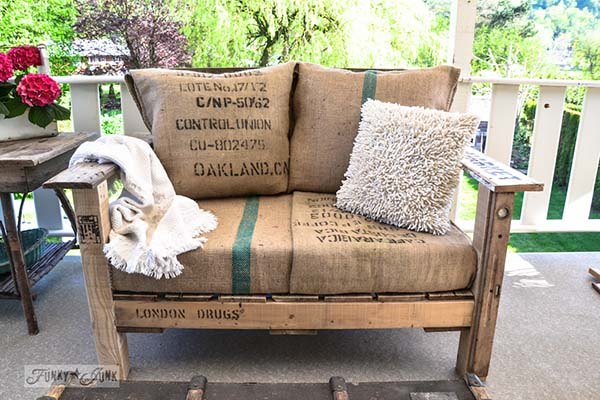 They Obviously Create It Out Of Pallets. But It Was Taken One Step Further.  They Made Cushions From Old Burlap Bags. Along With Really Cute Pillows Too.