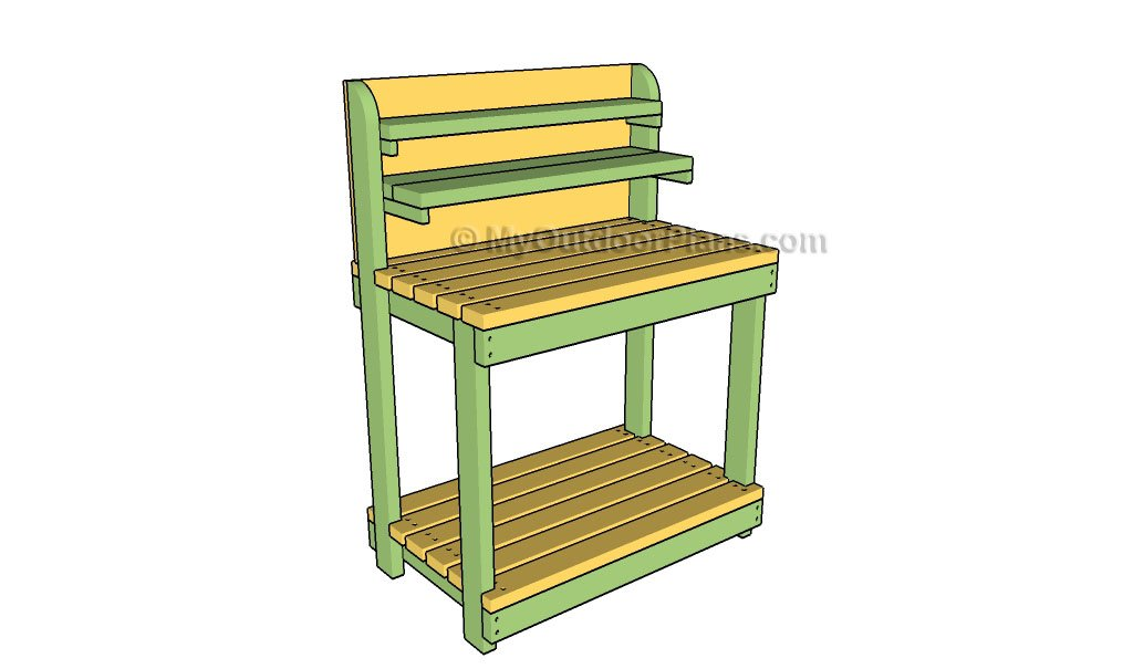 this potting bench design is very classic but it works well it has an open shelf at the bottom of the bench you also get ample amount of counter space for
