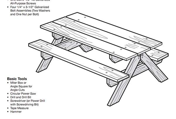 picnic-table-blueprint - 50 Free DIY Picnic Table Plans For Kids And Adults