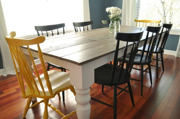 40 DIY Farmhouse Table Plans & Ideas for Your Dining Room Free