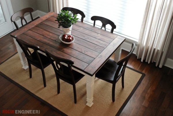 40 diy farmhouse table plans ideas for your dining room for Modern farmhouse table plans