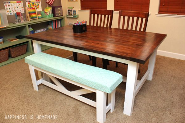 farmhouse table with bench - Diy Dining Room Table Plans