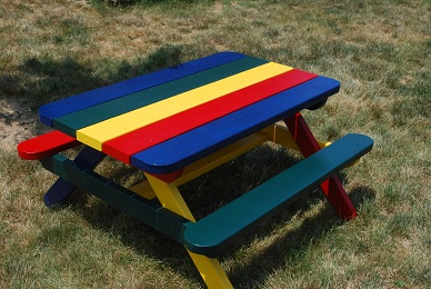 This Is A Picnic Table Designed For Smaller Children. It Has The Attached  Benches Which Is A Great Safety Feature Actually. This Would Keep Children  From ...