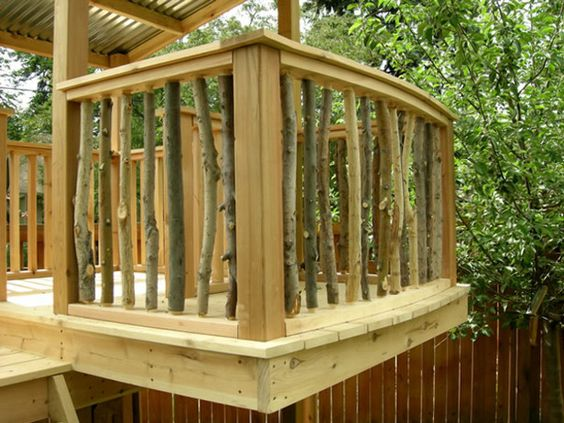this is another really neat idea for deck railing you build the deck as usual then fill in branches in the place of normal spindles - Deck Railing Design Ideas