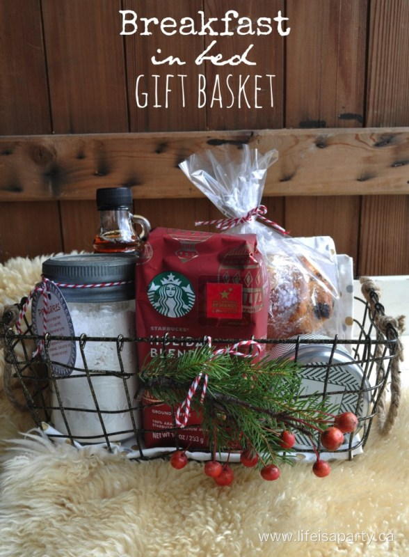 23 fantastic gift basket ideas to make any recipient smile i think this breakfast in bed gift basket would be a perfect gift to give to couples and an easy go to if you dont know them too well negle Gallery