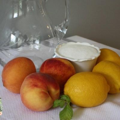 How to make fresh peach lemonade sugar lemons peaches mint wa