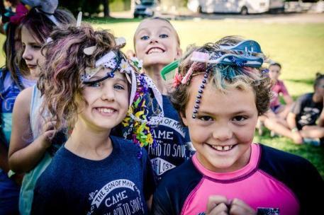 Girls camp hair day
