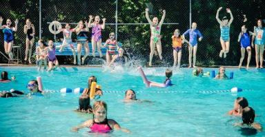 Girls camp jump pool 2