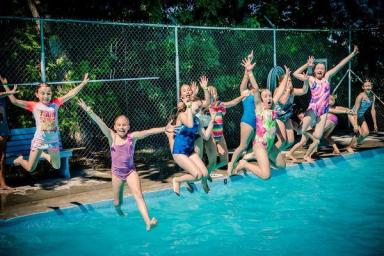 Girls camp jump pool
