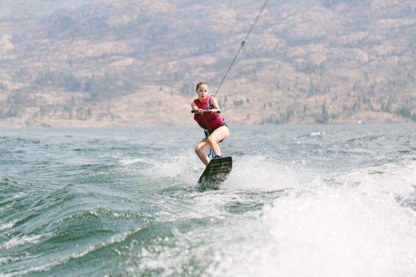 Josie wakeboarding