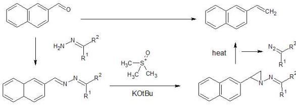 三員環のアジリジンからオレフィンを合成