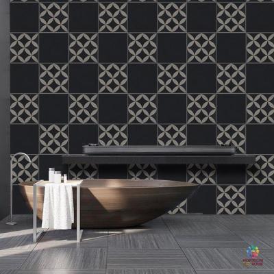 Stunning bathroom with black design tiles pattern