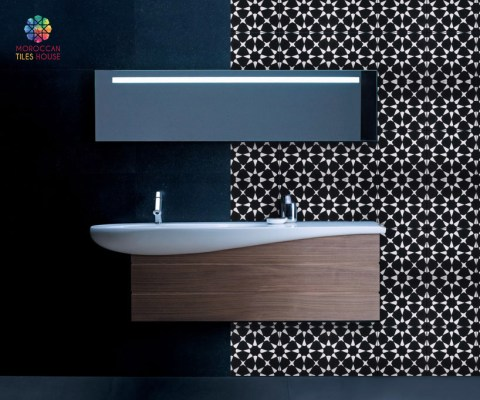 Morocca tiles : Black and white motif color for a minimalist bathroom