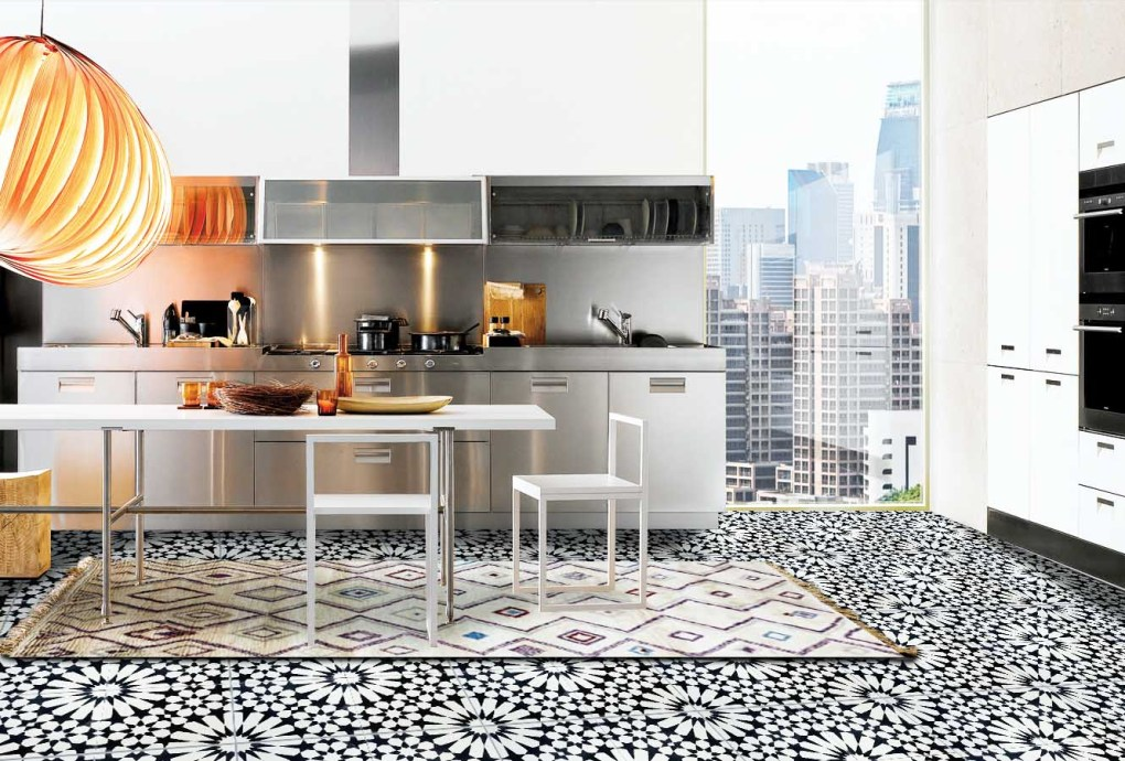 Kitchen with Moroccan Tile flooring