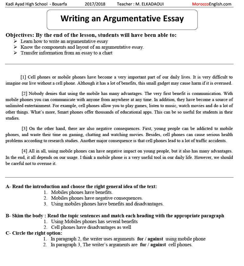 full demo lesson  teaching writing argumentative essay adopting  before going through the process of writing students will induce analyse  and break up a simple model into the main components of an essay using