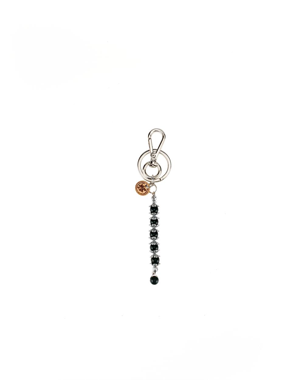 portachiavi accessori in metallo color nichel, pietra agata nero lucido.
