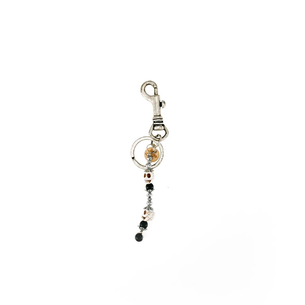 portachiavi portachiavi accessori in metallo finitura argento antico, pietra agata dura.